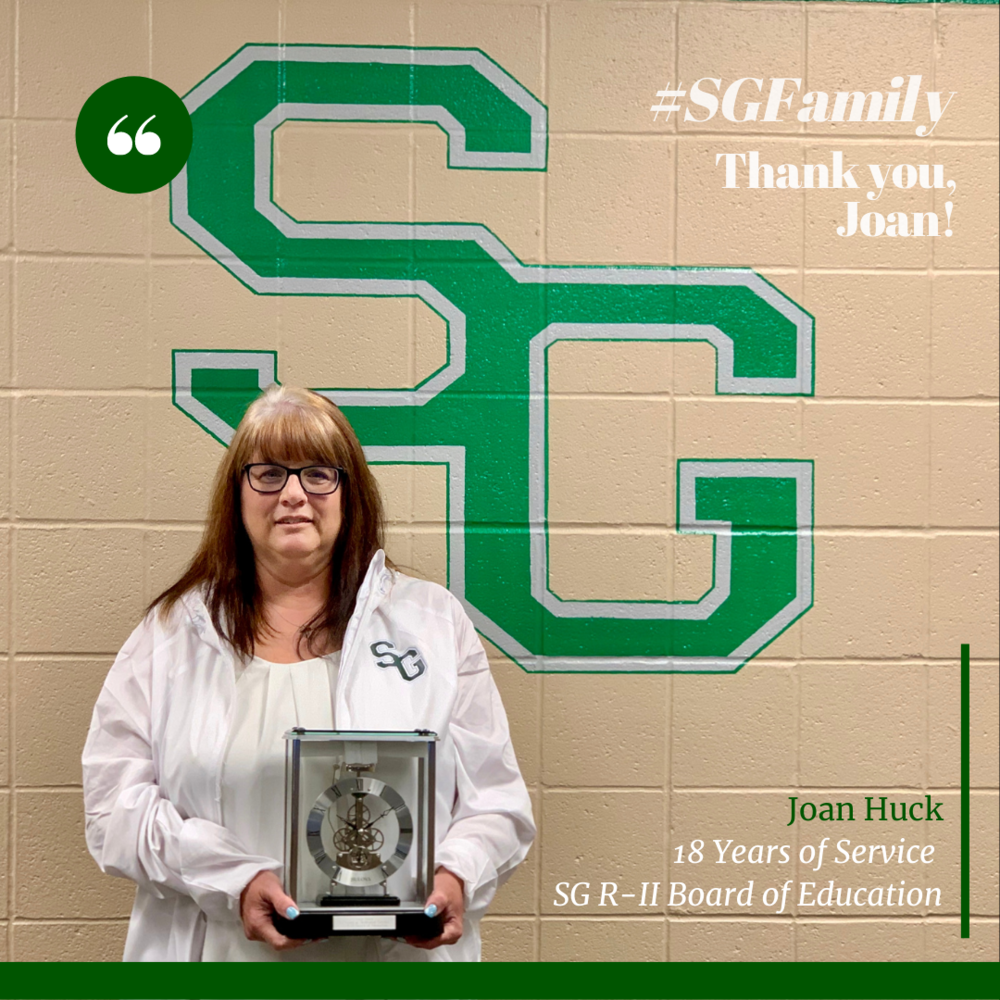 SG R-II Thanks Joan Huck for Her Service on the Board