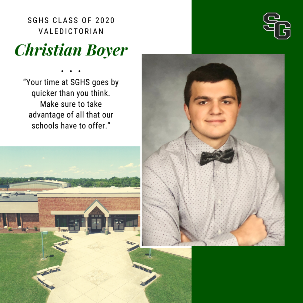 SGHS Presents Class of 2020 Valedictorian Christian Boyer