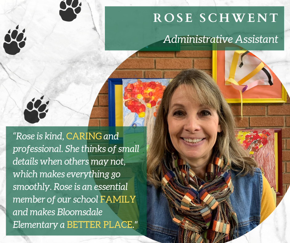 Administrative Assistant Rose Schwent Recognized as April's Staff Member of the Month