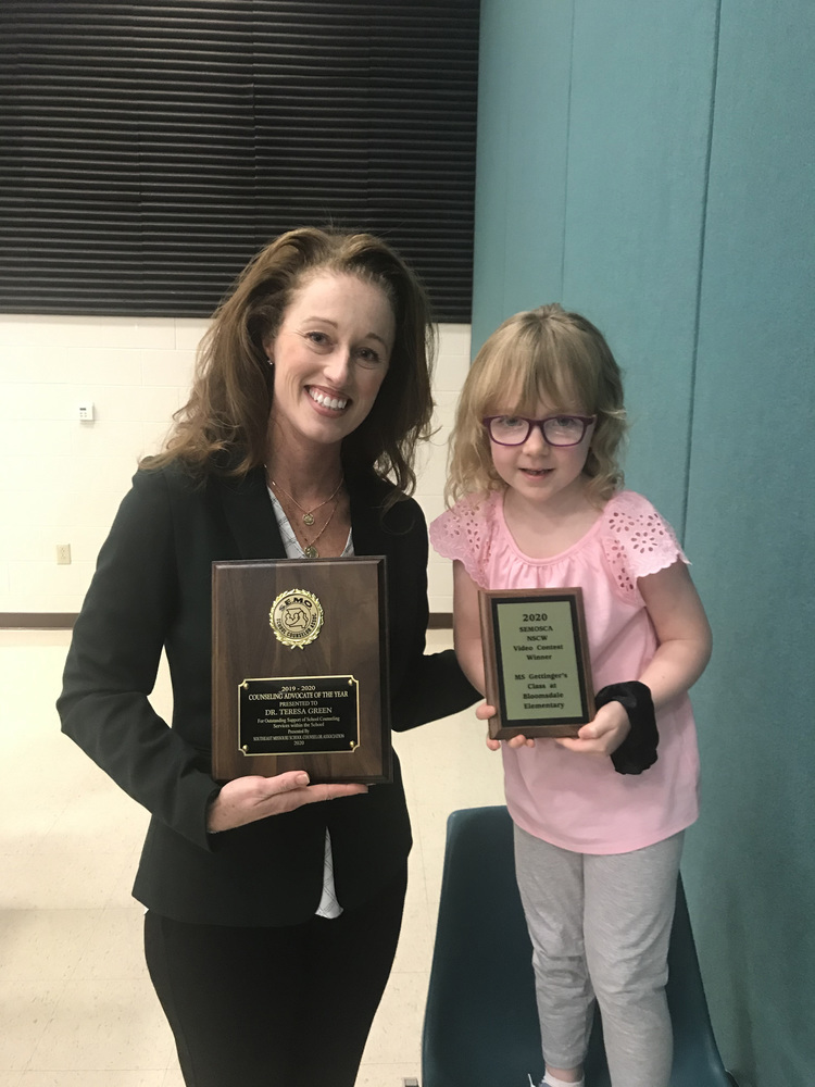 Student Services Director & Bloomsdale Elementary Kindergarten Class Recognized by Southeast Missouri School Counselor Association