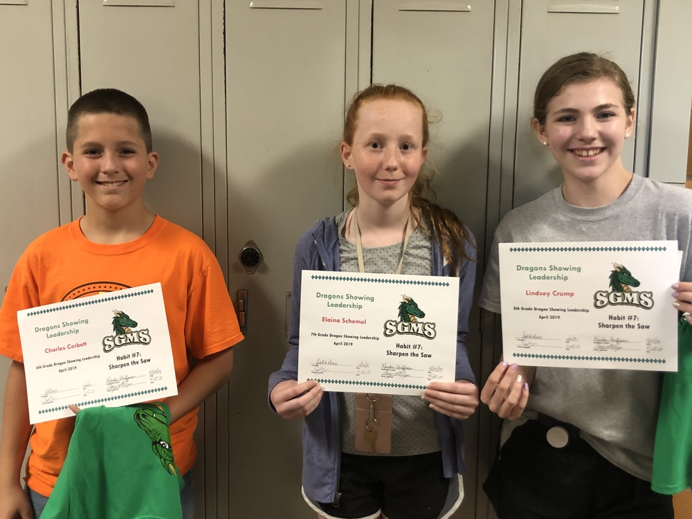 SGMS Students Recognized for Leadership Skills in April