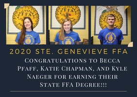 Missouri State FFA Recognizes Ste. Genevieve FFA Chapter for Awards Virtually