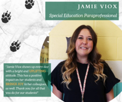 Jamie Viox Recognized as District's Staff Member of the Month