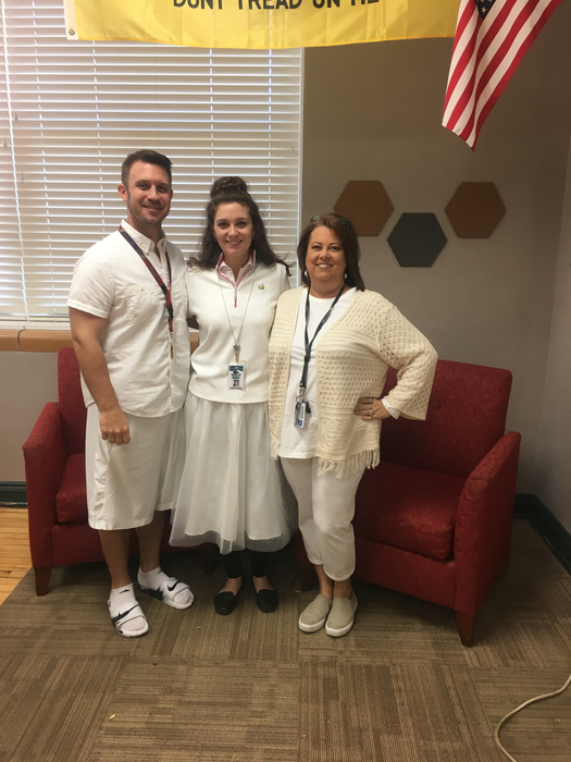 Some of our history teachers rocking Winter White Out ❄️