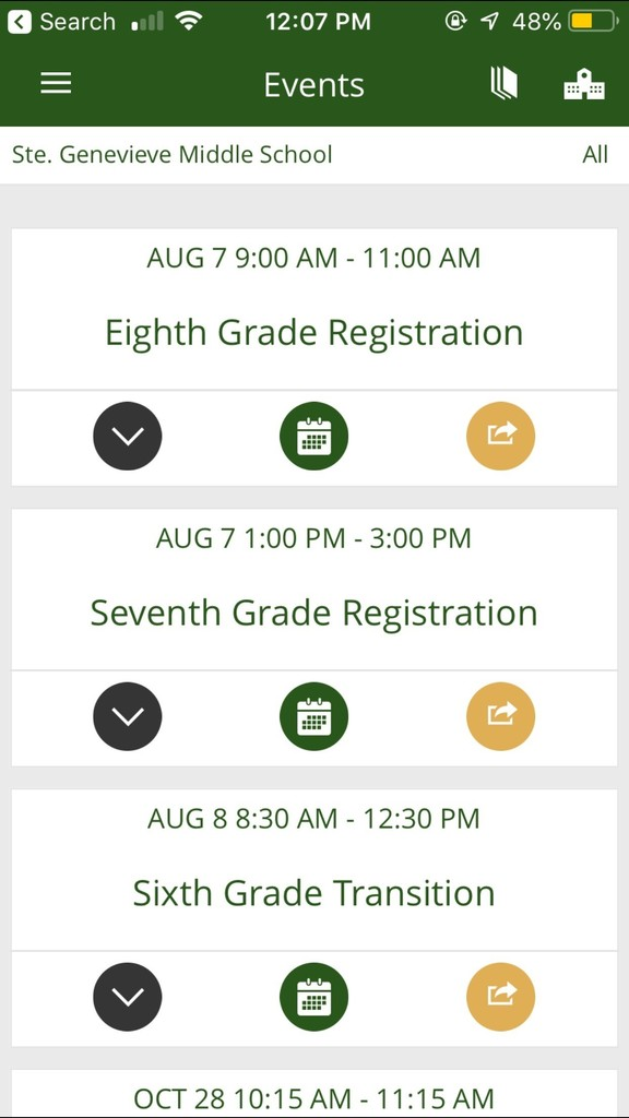 Upcoming SGMS Events: A snapshot from the app