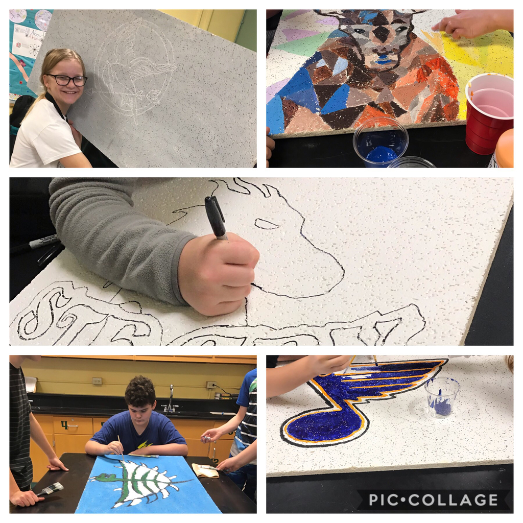 We are working on ceiling tiles for teachers #sgmsfriends # sgmsfamily